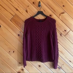 Gap Cable Knit Maroon Sweater Small Chunky Knit